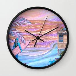 Hawaiian Coral And Teal Surfer Fine Art Wall Clock