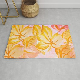 Soft Painterly Pastel Autumn Leaves Rug