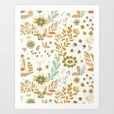 Little Creme Garden Flowers Art Print