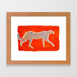 Leopard - Orange Framed Art Print