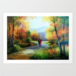 Walk in the autumn forest Art Print