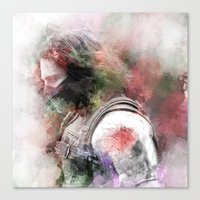 winter soldier Canvas Prints featuring Winter Soldier by NKlein Design