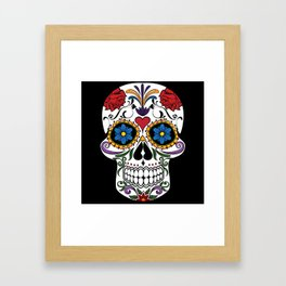 Colorful Sugar Skull Framed Art Print