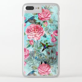 Vintage Watercolor hummingbird and English Roses Clear iPhone Case