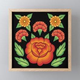 Mexican Folk Pattern – Tehuantepec Huipil flower embroidery Framed Mini Art Print