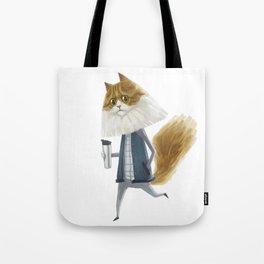 A cat holding a tumbler Tote Bag