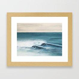 Surfing big waves Framed Art Print
