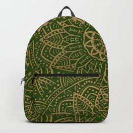 Gold and green mandala Backpack