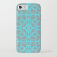 gray pattern iPhone & iPod Cases featuring Turquoise and Gray Pattern  by xiari