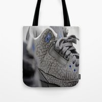 air jordan Tote Bags featuring Air Jordan Retro 3 GS by TJAguilar Photos
