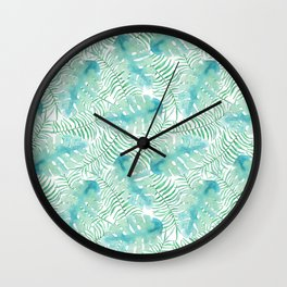 Modern tropical pastel green watercolor leaves floral Wall Clock