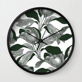 Green leaves print - Apples Wall Clock