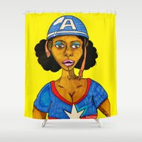 captain silva Shower Curtains featuring Captain by N3RDS+INK