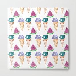 Ice Creams and Watermelon Metal Print