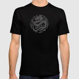 Traditional Gray and Black Chinese Dragon Circle T-shirt