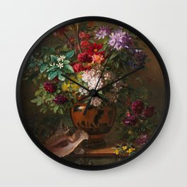Georgius Jacobus Johannes van Os - Still life with flowers in a Greek vase - 1817 Wall Clock