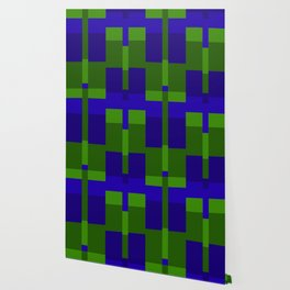 Squares and Lines in Blue and Green Wallpaper