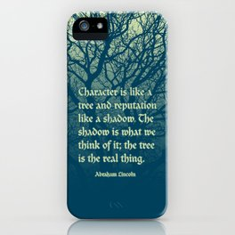 Tree of Character VINTAGE BLUE / Deep thoughts by Abe Lincoln iPhone Case