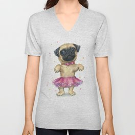 Cute Pug Puppy Dog Watercolor Painting Unisex V-Neck