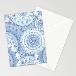 Delicate Ice Blue Mandala Pattern Stationery Cards