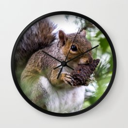 Squirrel with Pine Cone Wall Clock
