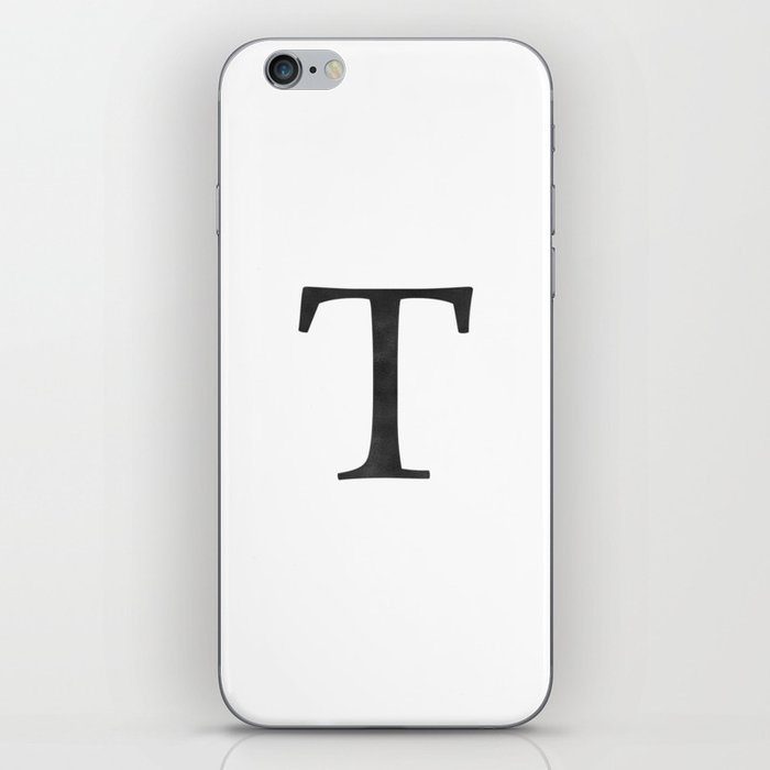 Letter T Initial Monogram Black and White iPhone Skin