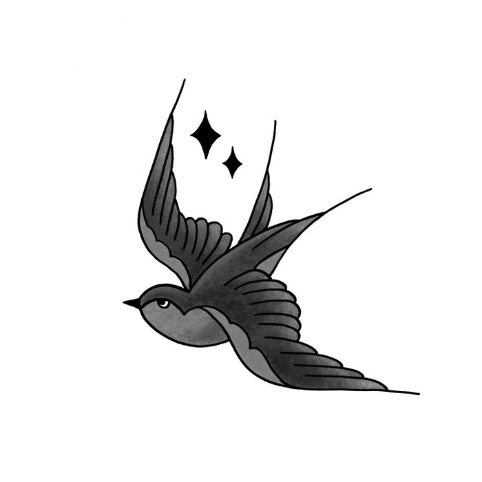 Swallow Flash - mono Duvet Cover