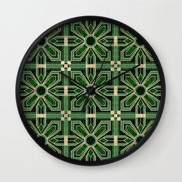 Art Deco Floral Tiles in Emerald Green and Faux Gold Wall Clock