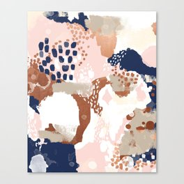 Sonia - rose gold navy copper modern abstract rosegold trendy pattern cell phone accessories Canvas Print