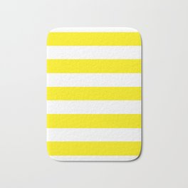 Canary yellow - solid color - white stripes pattern Bath Mat