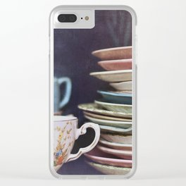 Vintage teacups, saucers and books Clear iPhone Case