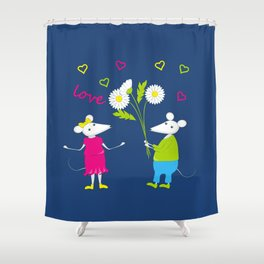 pair of white enamored mouses Shower Curtain