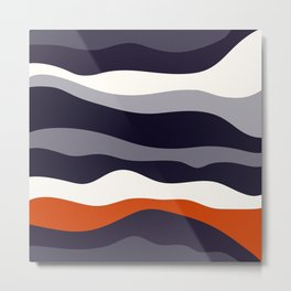 Waves - orange and grey Metal Print