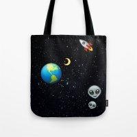 emoji Tote Bags featuring Space Emoji by jajoão