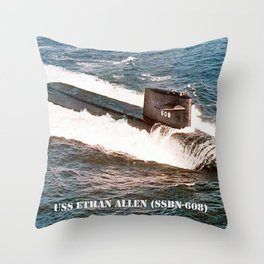 USS ETHAN ALLEN (SSBN-608) Throw Pillow