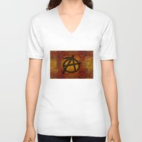 anarchy V-neck T-shirts featuring Distressed Anarchy by Bruce Stanfield