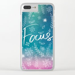 Blue Teal Purple Focus Meditation Spirituality Sucess Typography Floral Illustrations Quote Art Clear iPhone Case