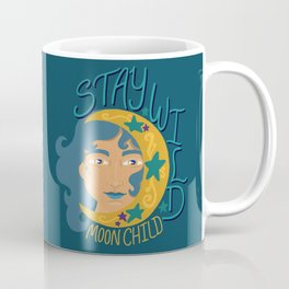Stay wild moon child - Teal and gold - woman with cresent moon Coffee Mug