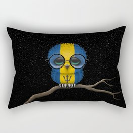 Baby Owl with Glasses and Barbados Flag Rectangular Pillow