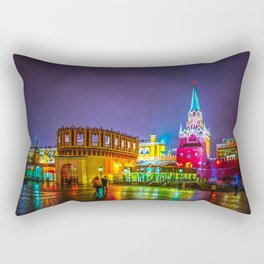 Kremlin Towers And The Main Entrance To The Kremlin At Night Rectangular Pillow