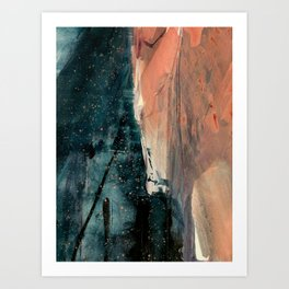 Same Stars [2] - an abstract mixed media piece in blues, pinks, and black Art Print