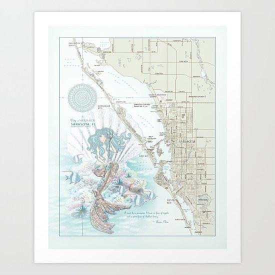 """Sarasota """"Anais Nin"""" Mermaid quote area map by kokuadesigncompany"""