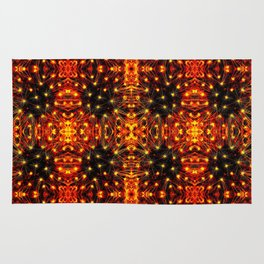 Red Yellow Sparkling Pattern Rug