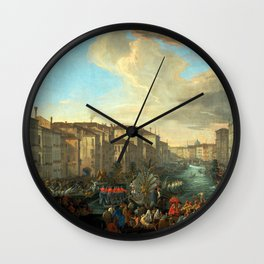Luca Carlevarijs Regatta on the Grand Canal in Honor of Frederick IV, King of Denmark Wall Clock