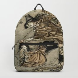 """Four Witches """"Up The Chimney"""" by Arthur Rackam Backpack"""