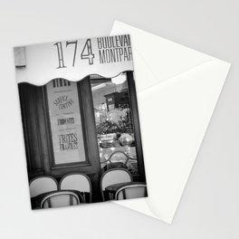 Paris Cafe Montparnasse Black And White Stationery Cards