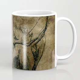 Moose Woodland Illustration Textured Fine Art Coffee Mug