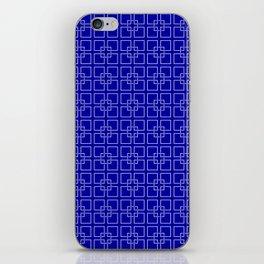 Dark Earth Blue and White Interlocking Square Pattern iPhone Skin