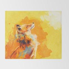 Blissful Light - Fox portrait Throw Blanket