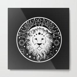 Leo Lion Zodiac on Black Metal Print
